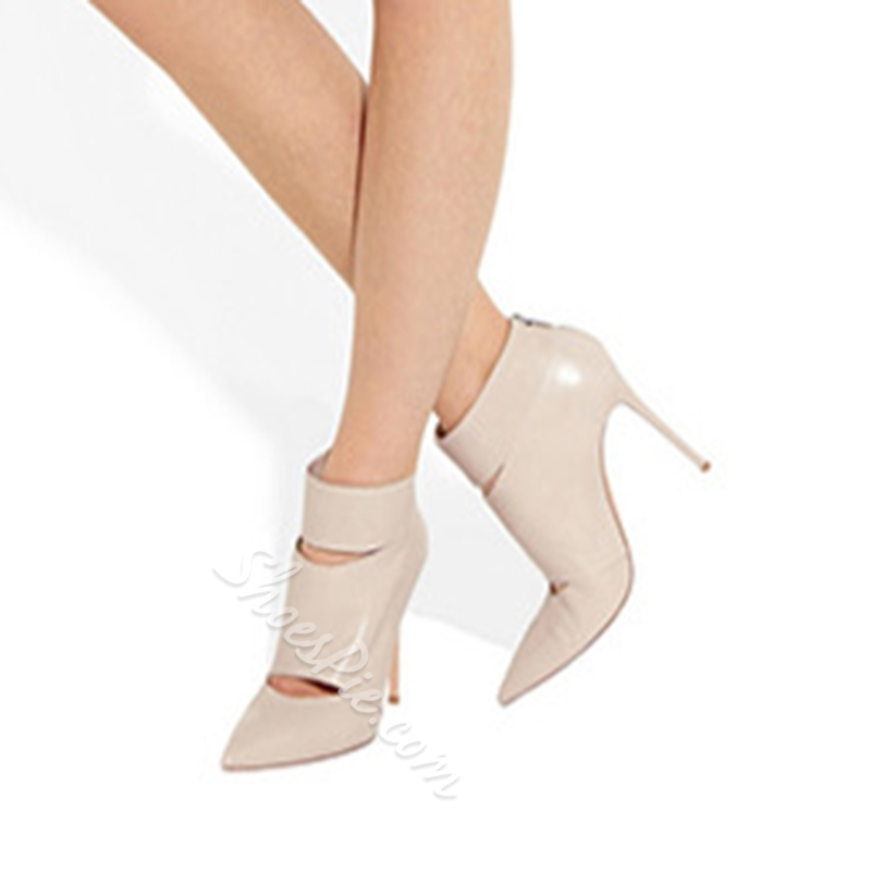 Shoespie Back Zipper Pointed-toe Hollow Ankle Boots