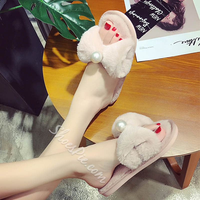 Shoespie Flocking Bow Beads Flat Heel Mules Shoes