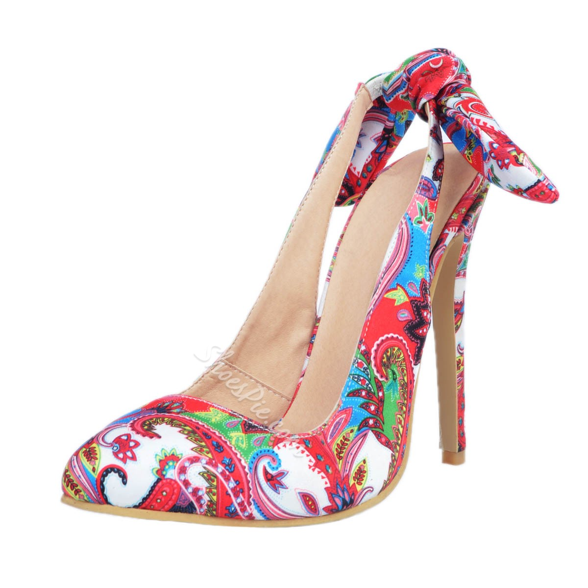 Shoespie Bowtie Floral Stiletto Heels