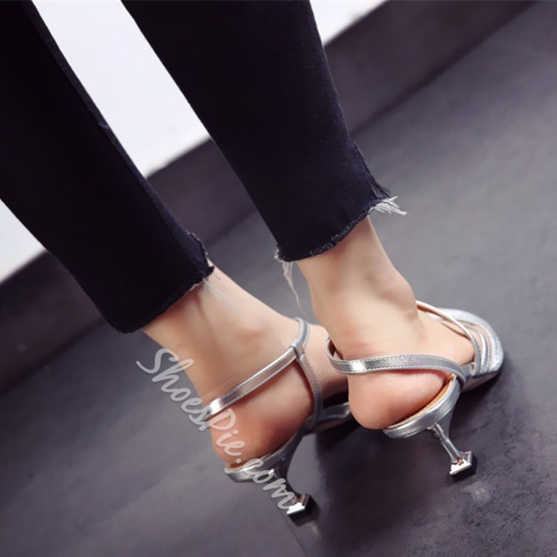 Shoespie Strappy Slip-On Stiletto Heel Dress Sandals