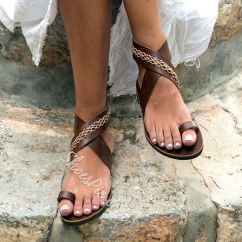 Coffee Toe Ring Lace-Up Flat Sandals