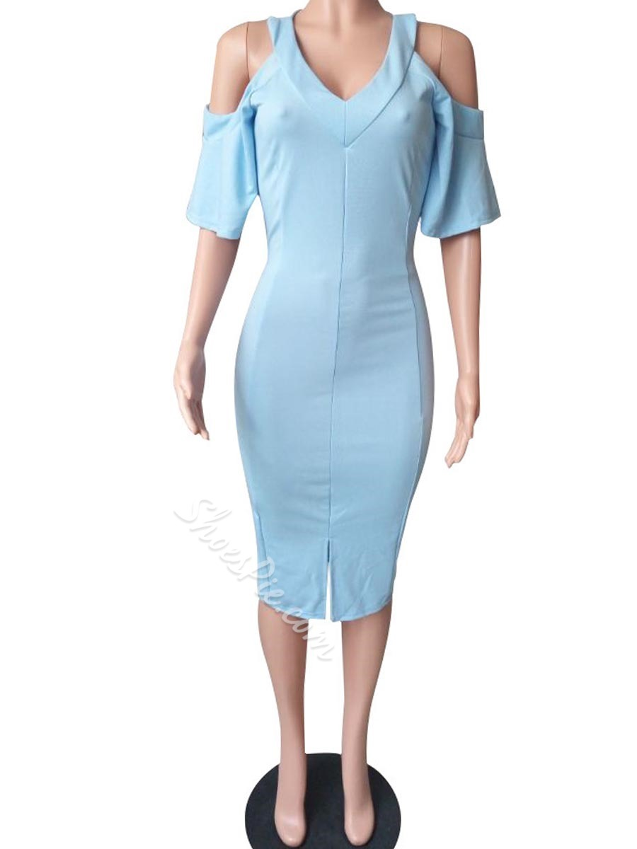 Shoespie V-Neck Pencil Batwing Short Sleeve Bodycon Dress