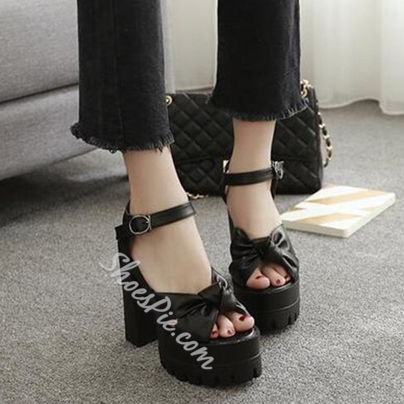 Shoespie Platform Ankle Strap Line-Style Buckle Peep Toe Chunky Heel Sandals
