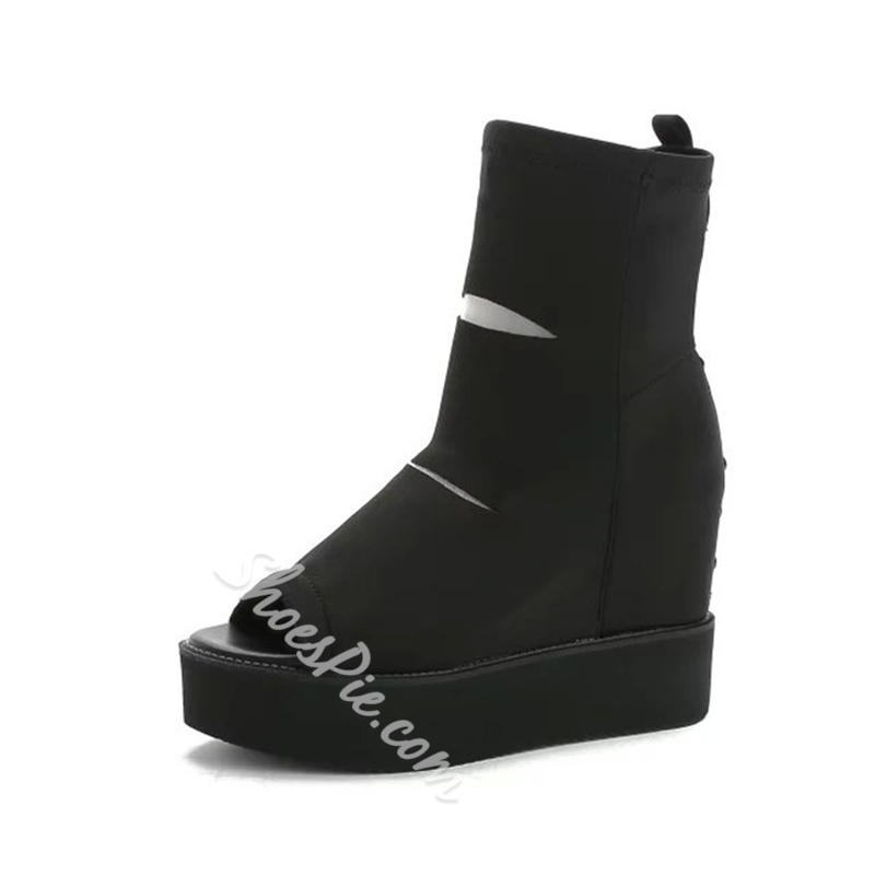 Sheospie Peep Toe Hollow Ankle Boots