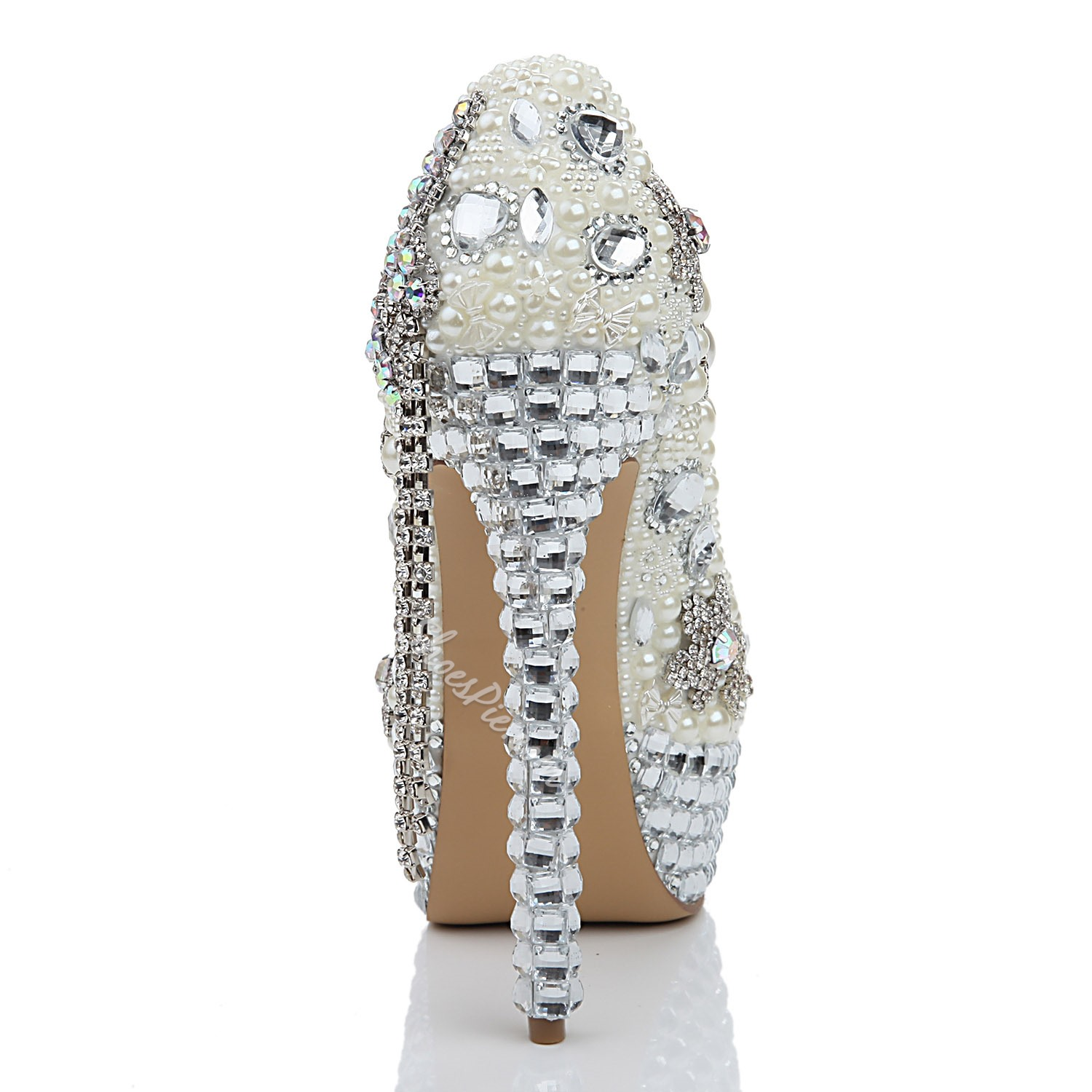 Shoespie Appliques Rhinestone Beads Wedding Stiletto Heel Platform Heels