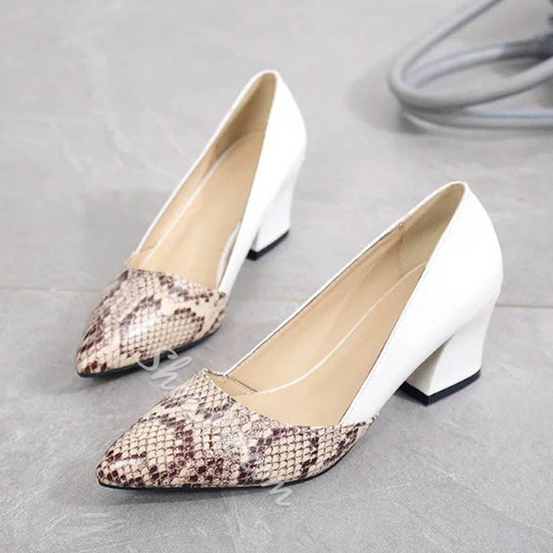 Shoespie Serpentine Color Block Pointed Toe Chunky Heel Low Heels