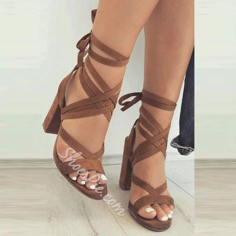 Shoespie Suede Ankle Strap Lace-Up Chunky Heel Gladiator Sandals