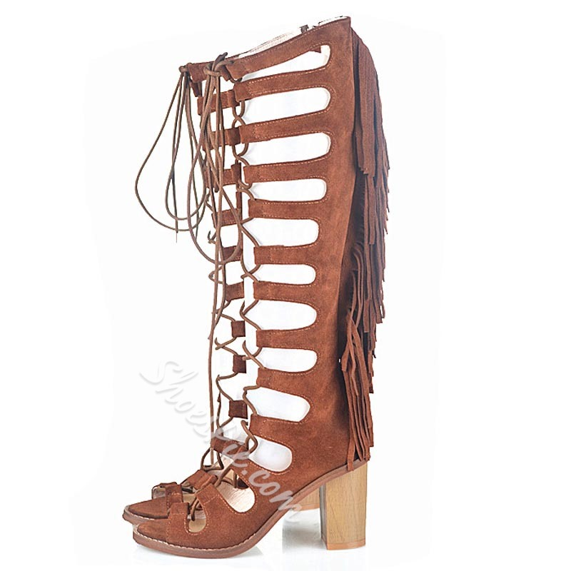 Shoespie Side Zipper Cross Strap Hollow Knee High Boots