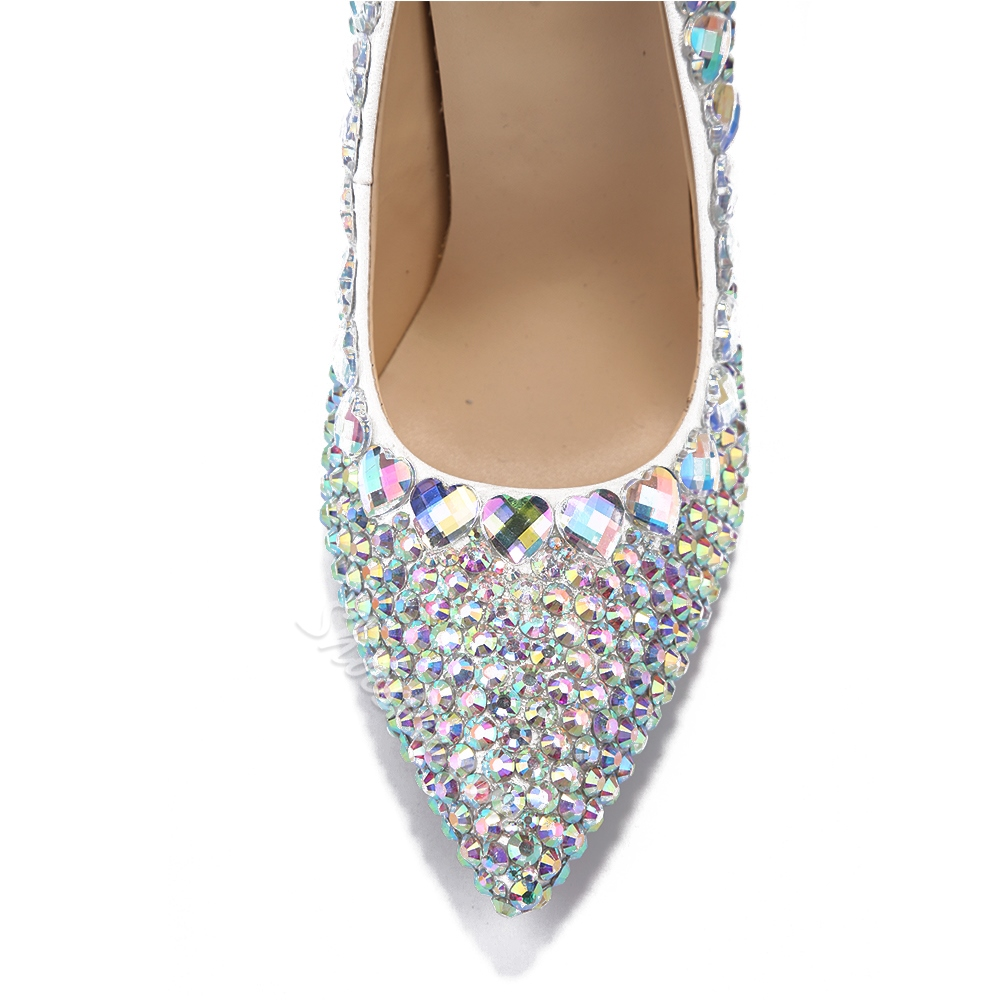 Shoespie Sequined Rhinestone Pointed Toe Heart Crystal Stiletto Heels
