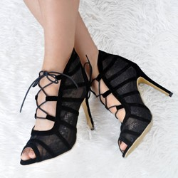 Shoespie Suede Peep Toe Lace-Up Stiletto Heel Dress Sandals