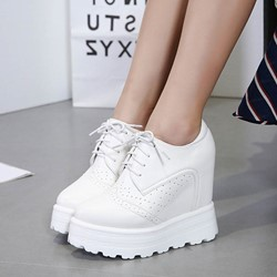 Shoespie Pointed Toe Hidden Wedge Sneaker