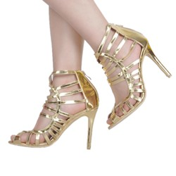 Shoespie Zipper HollowBanquet Peep Stiletto Heel Gladiator Sandals