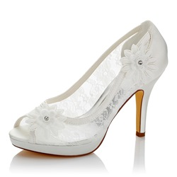 Shoespie Elegant Peep Toe Lace Bridal Shoes