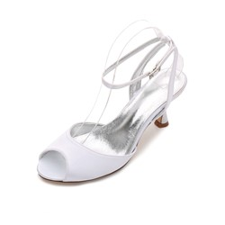 Shoespie Silk FabricLine-Style Buckle Peep Stiletto Dress Wedding Sandals