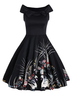 Shoespie Floral Color Block Backless Print Bow Slash Neck Dress