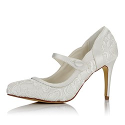 Shoespie Round Toe Buckle Lace Bridal Shoes