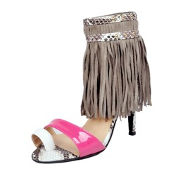 Shoespie Rivet Fringe Color Block Toe Ring Stiletto Heel Dress Sandals