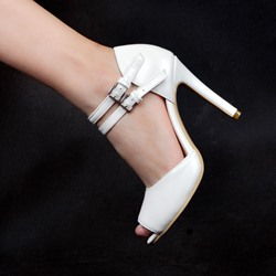Shoespie Peep Toe Summer Low-Cut Upper Buckle Stiletto Heel Dress Sandals