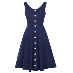 Shoespie Button V-Neck Zipper Sleeveless Dress