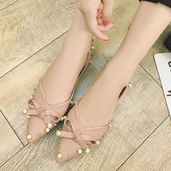 Shoespie Pointed Toe Bow Beads Rivet Buckle Flat Sandals