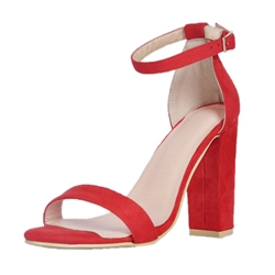 Shoespie Suede Summer Line-Style Buckle Chunky Heel Dress Sandals