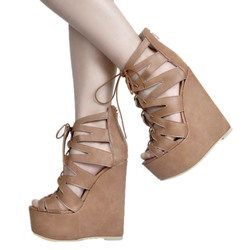Shoespie Zipper Peep Toe Cross Strap Platform Wedge Heels Gladiator Sandals shoespie