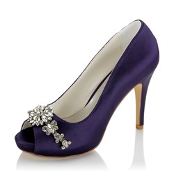 Shoespie Rhinestone Stiletto HeelWedding Peep Toe Bridal Shoes