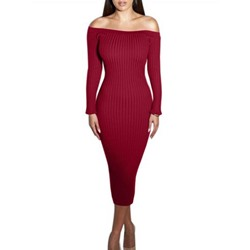 Shoespie Plain Thread Slash Neck Long Sleeve Bodycon Dress