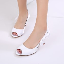 Shoespie Hollow Bow Peep Toe Silk Fabric Wedding Shoes Dress Sandals Stiletto Heel