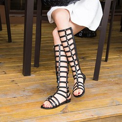 Shoespie High Shaft Hollow RivetStrappy Flat Gladiator Sandals