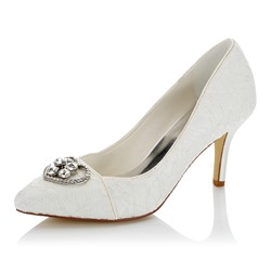 Sheospie Pointed Toe Lace Rhinestone Bridal Shoes
