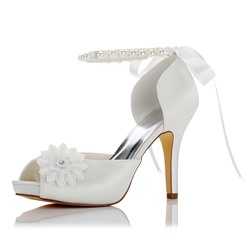 Shoespie Appliques Beads Peep Toe Bridal Shoes