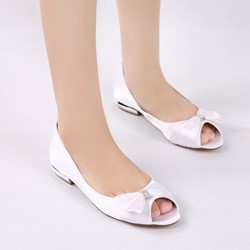 ShoespieWedding Peep Toe Bow Rhinestone Flat Sandals