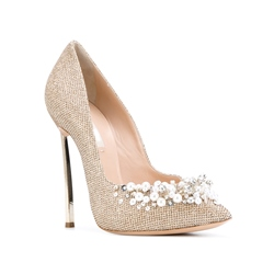 Shoespie Golden Rhinestone Beads Stiletto Heels