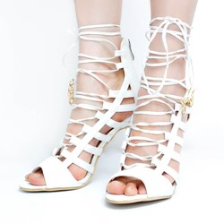 Shoespie Cross Strap Peep Toe Zipper Stiletto Heel Gladiator Sandals
