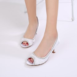 Shoespie Silk Fabric Rhinestone Peep Toe Stiletto Heel Wedding Dress Sandals