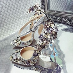 Shoespie Appliques Line-Style Buckle Pointed Toe Stiletto Heels