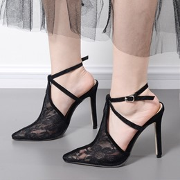 Shoespie Pointed-toe Lace Buckle Stiletto Heels