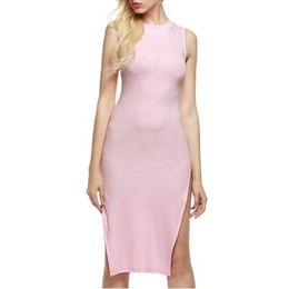 Shoespie Plain Asymmetrical Pullover High-Waist Sleeveless Bodycon Dress