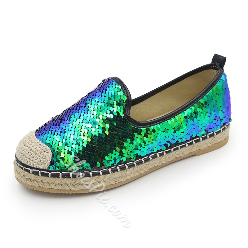 Shoespie Casual Sequin Slip-On Color Block Loafer Shoespie