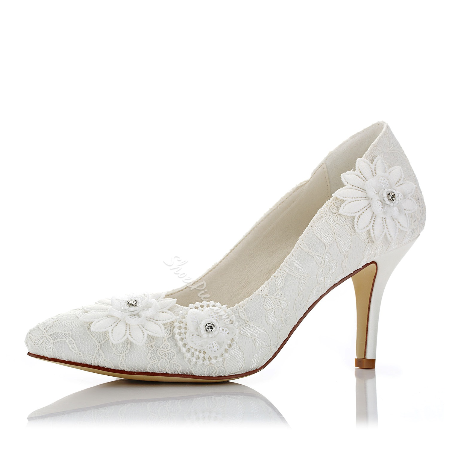 Shoespie Pointed Toe Lace Bridal Shoes