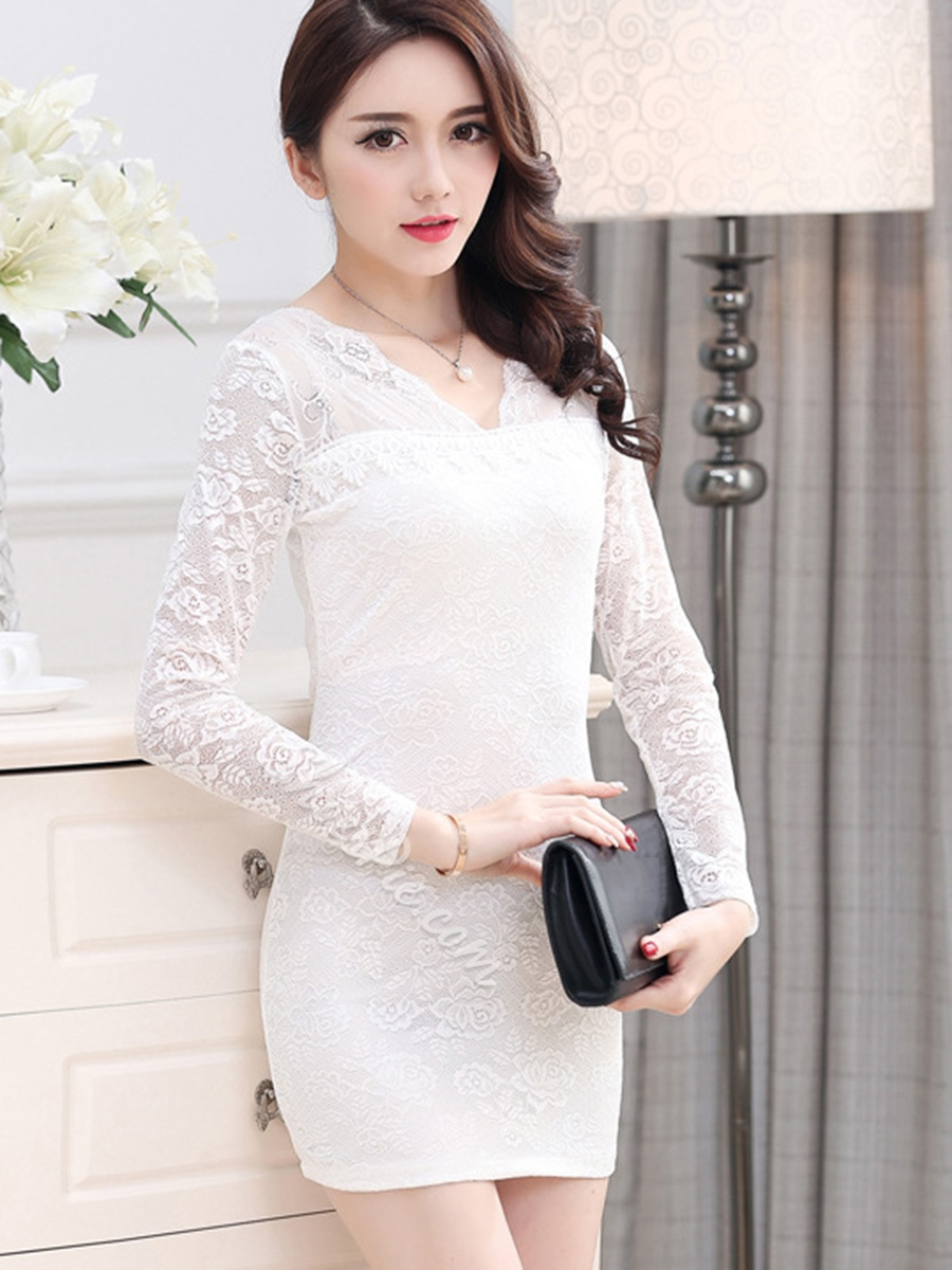 Shoespie See-Through Plain V-Neck Long Sleeve Bodycon Dress