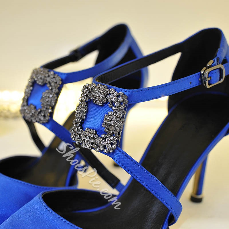Shoespie Rhinestone Buckle Pointed Toe Stiletto Heels