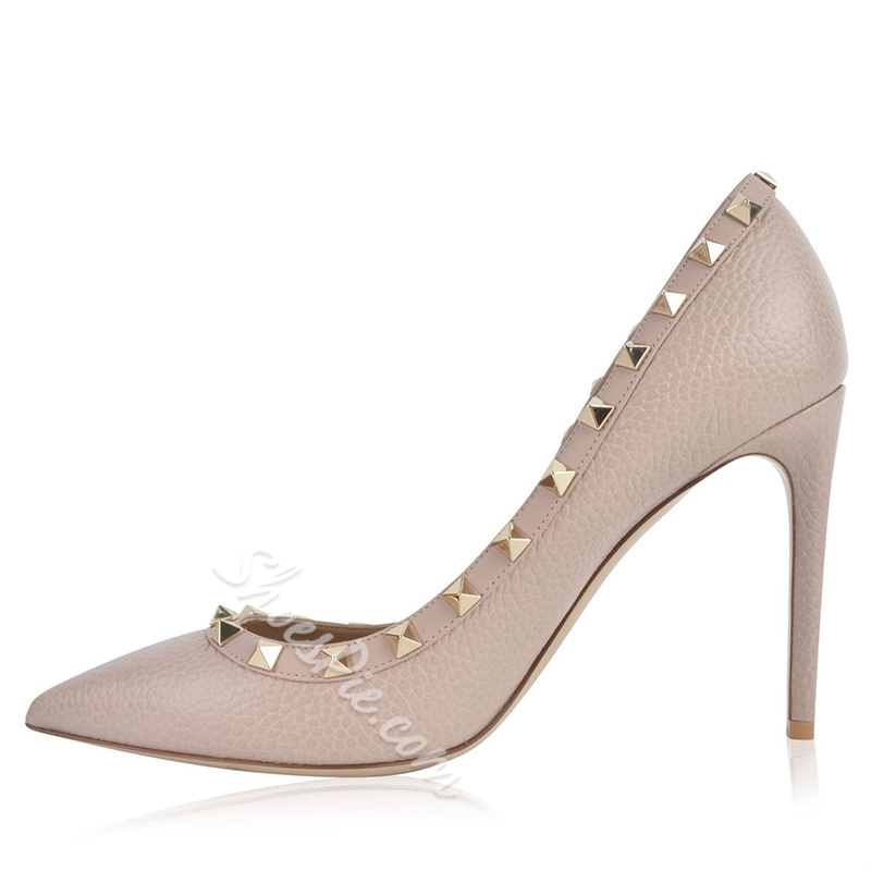 Shoespie Pointed Toe Rivet Stiletto Heel