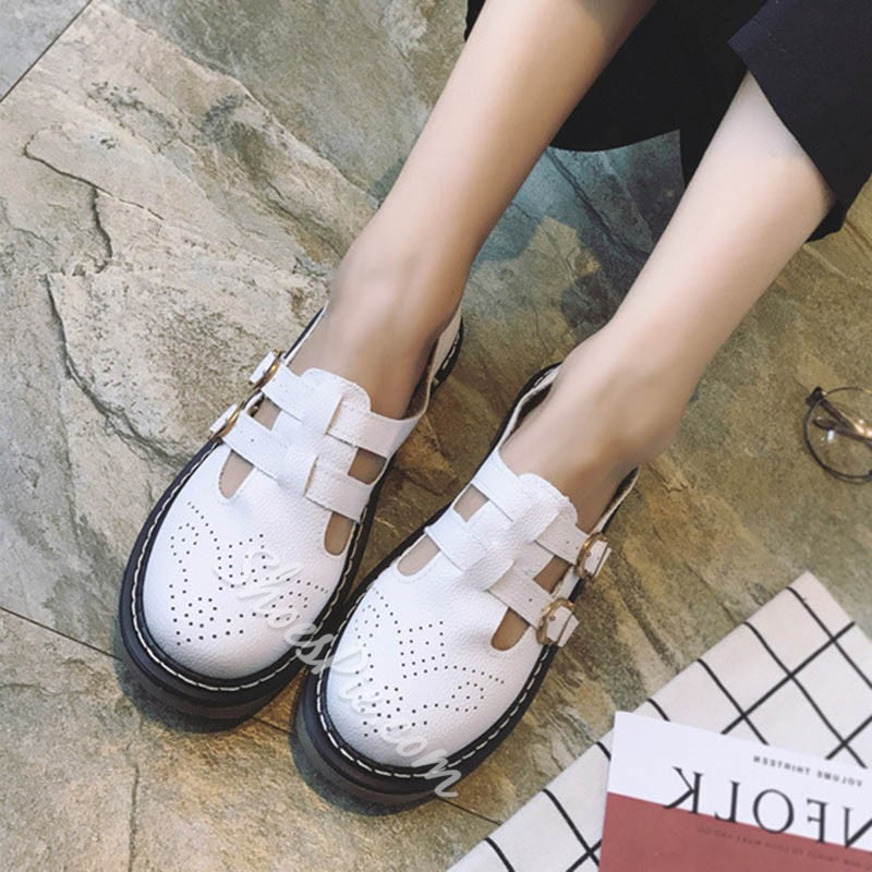 Shoespie Thread Buckle Block Sneaker