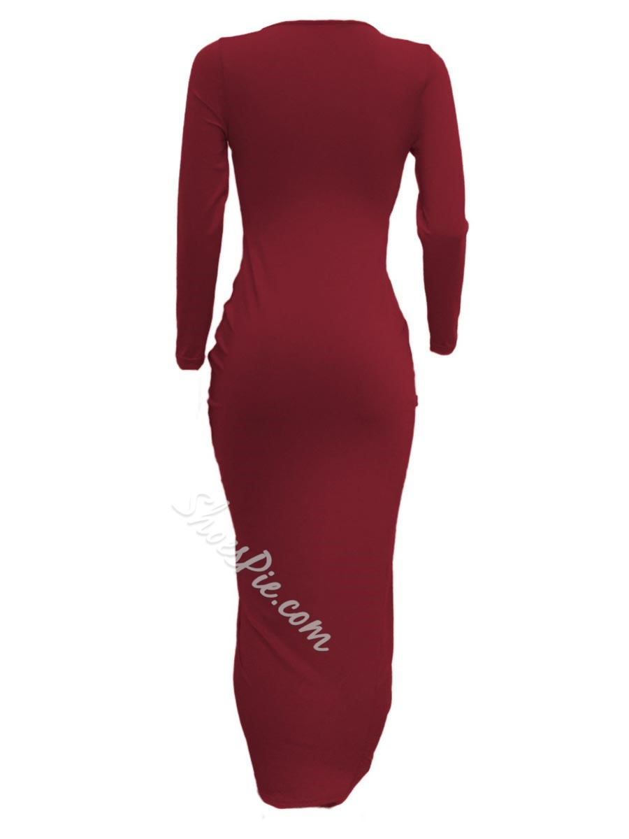 Shoespie Pleated Asymmetrical V-Neck Long Sleeve Bodycon Dress