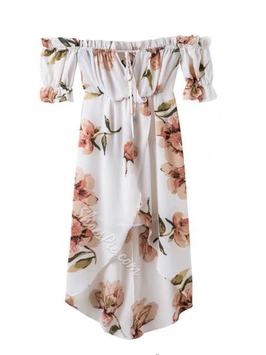 Shoespie Print Floral Slash Neck Asymmetrical Short Sleeve Dress