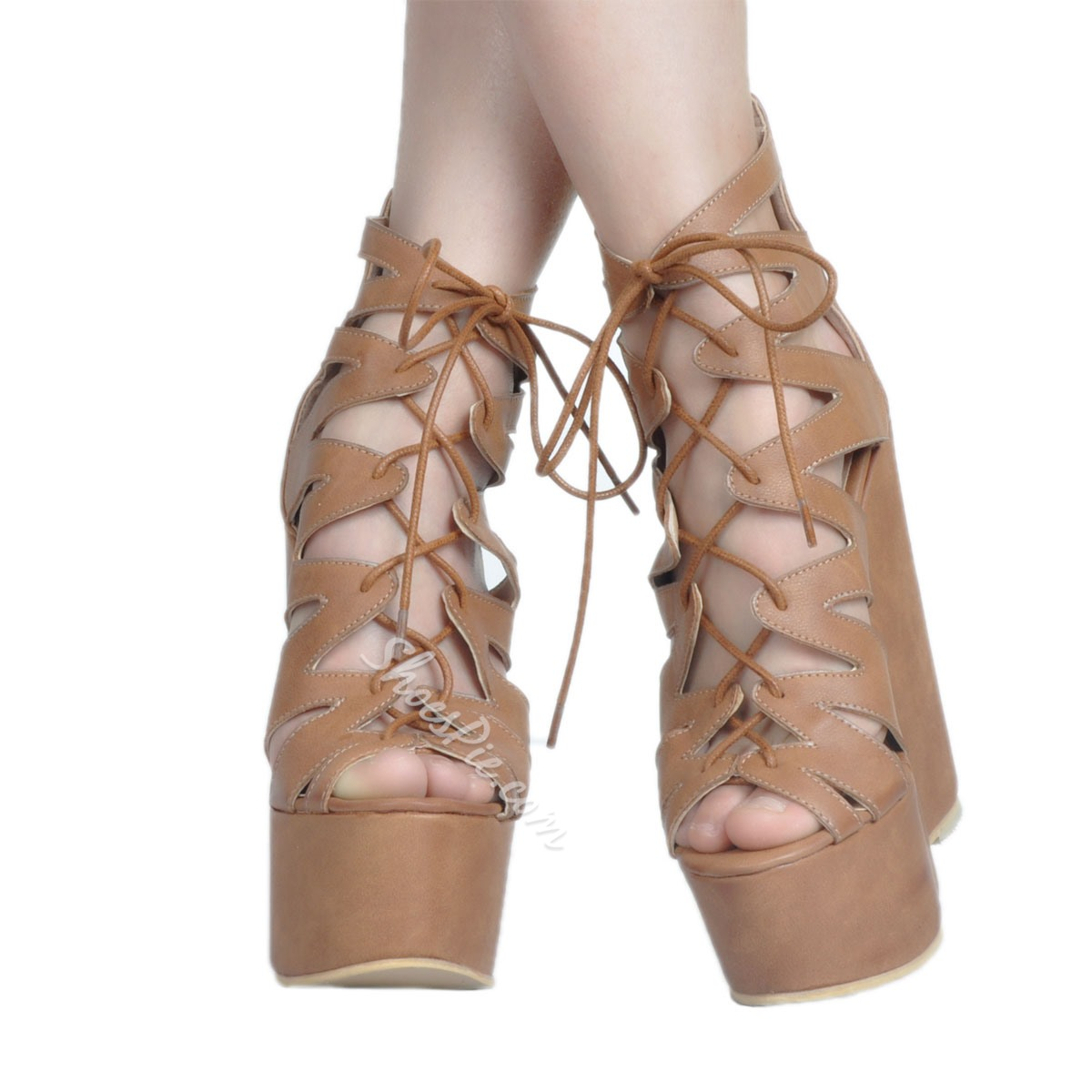 86ac88e17a67 Shoespie Zipper Peep Toe Cross Strap Platform Wedge Heels Gladiator Sandals