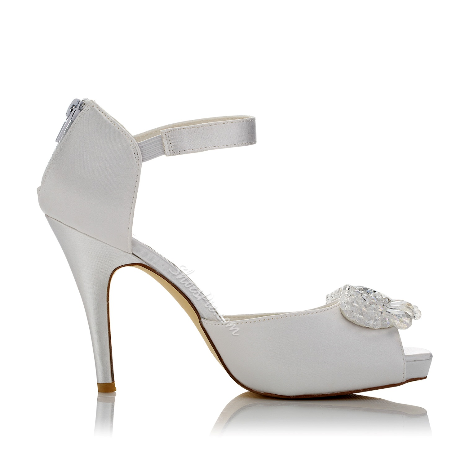 Shoespie Rhinestone Beads Peep Toe Bridal Shoes