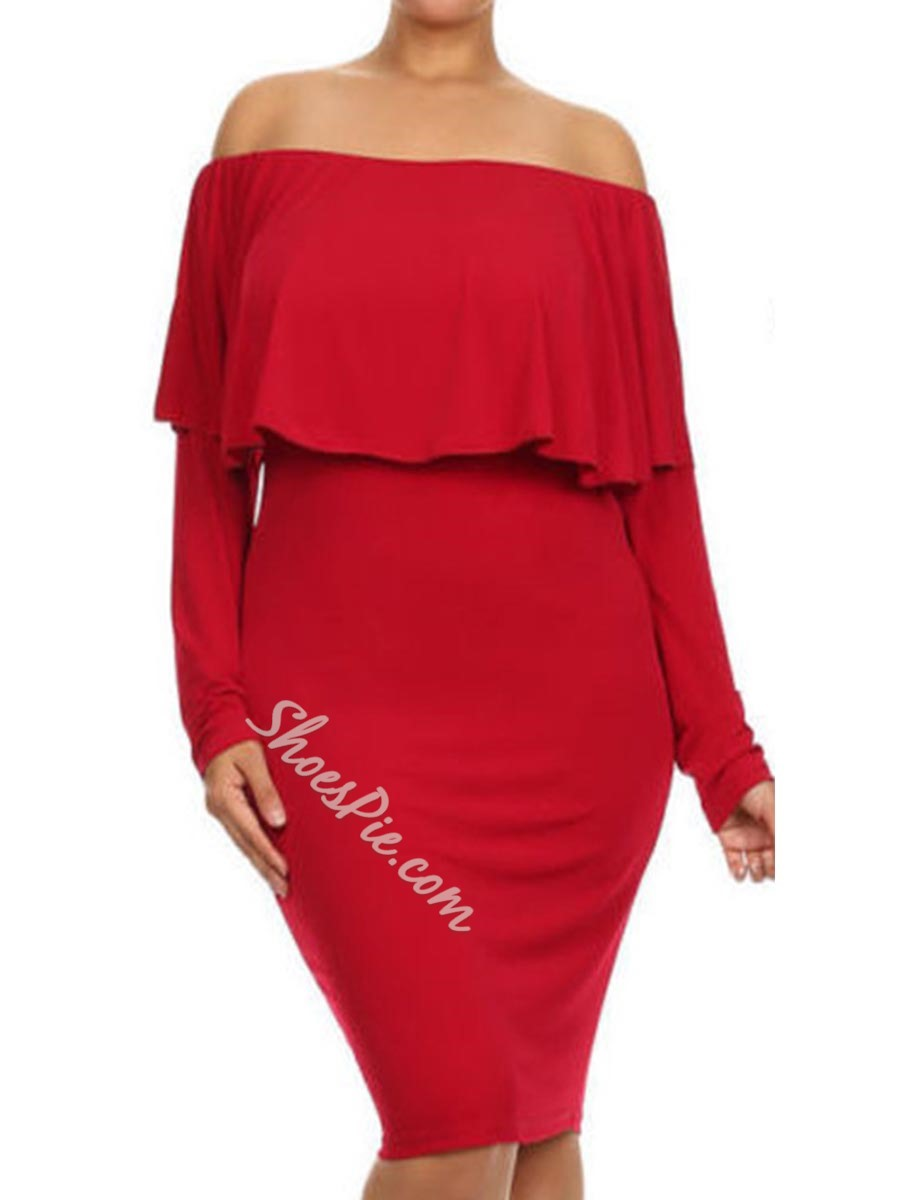 Shoespie Backless Slash Neck Long Sleeve Bodycon Dress